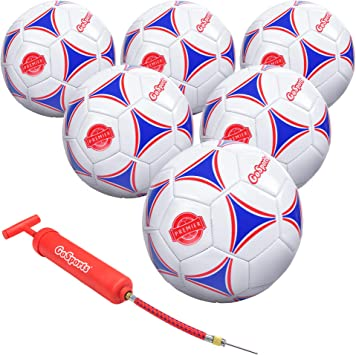 Gosports Premier Soccer Ball With Premium Pump Mesh Carrying Bag 6 Pack Size 5 Multicolor Soccer Balls Amazon Canada