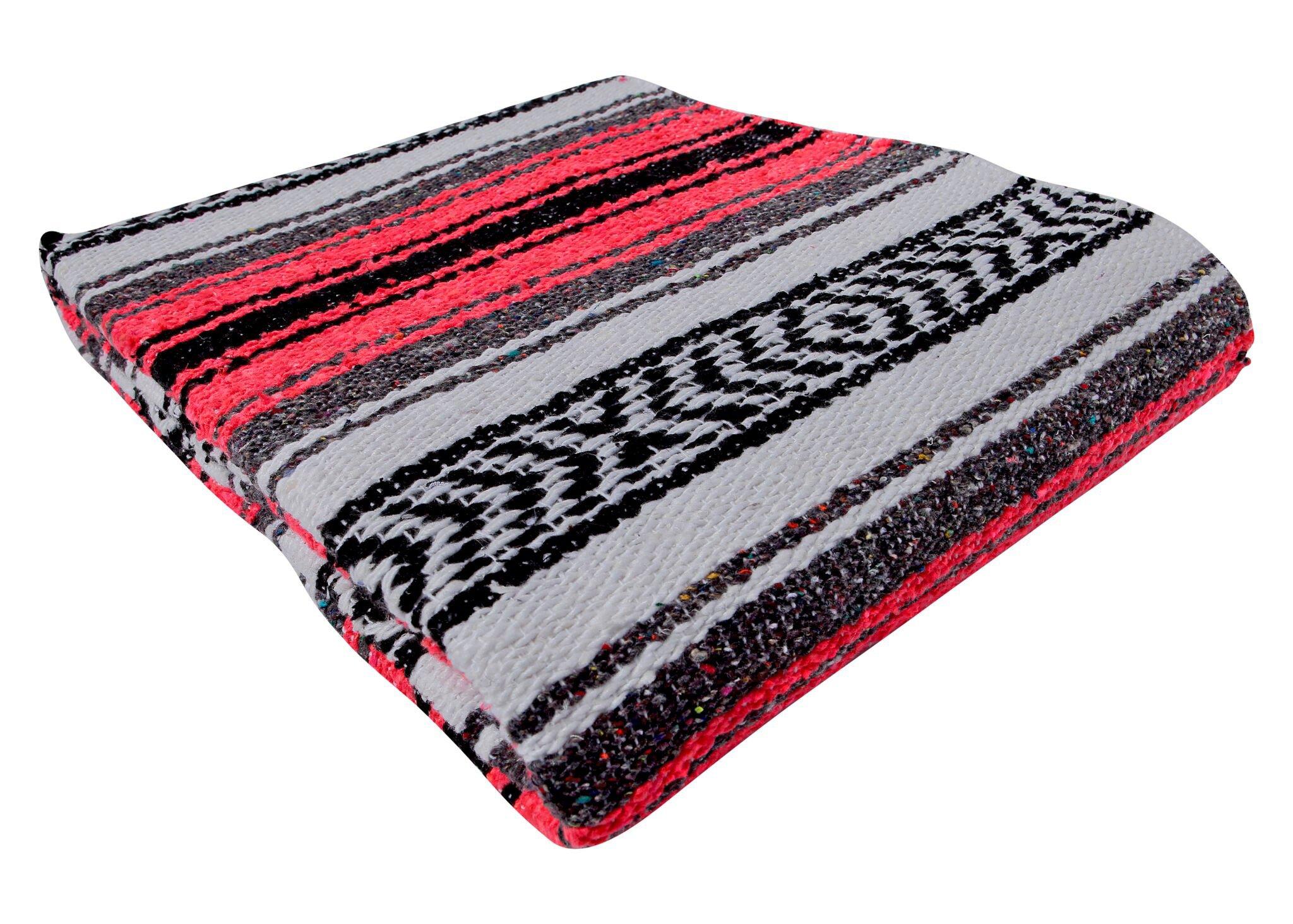 El Paso Designs Genuine Mexican Falsa Blanket - Yoga Studio Blanket, Colorful, Soft Woven Serape Imported from Mexico (Bright Coral) by El Paso Designs (Image #5)