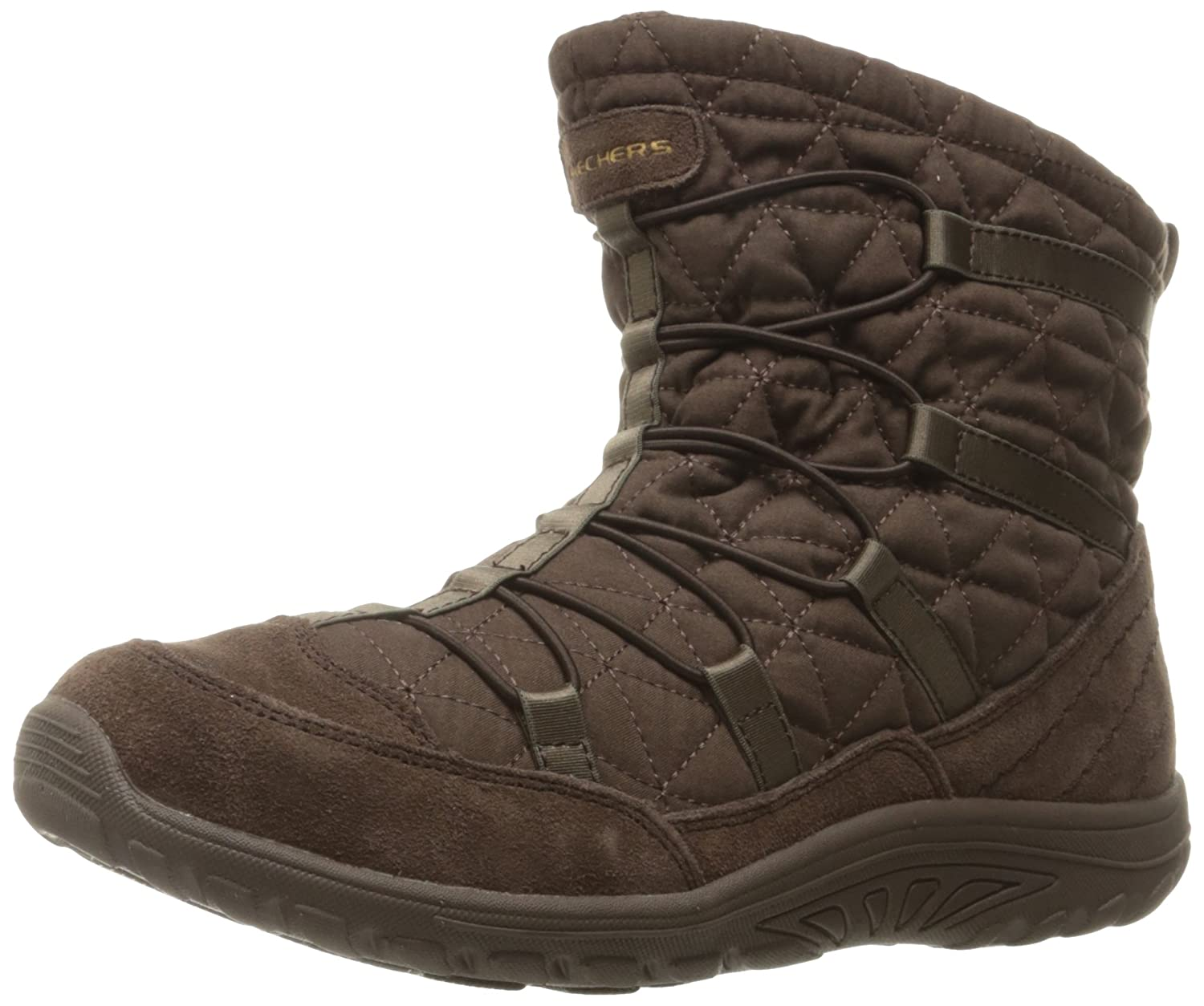 Skechers Womens Reggae Fest Steady Quilted Bungee Ankle Bootie  5 B(M) US|Chocolate