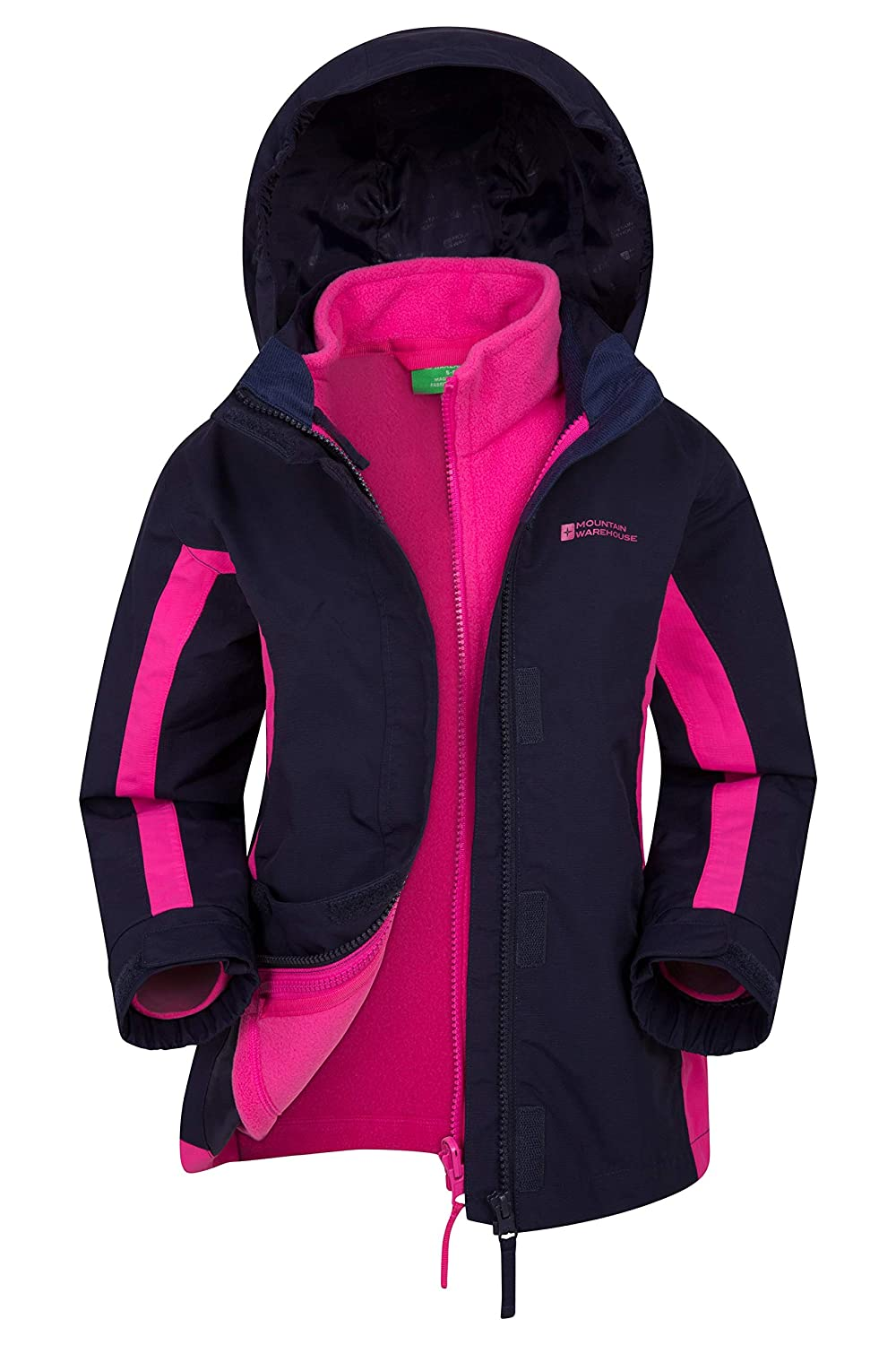 Mountain Warehouse Lightning 3 in 1 Kids Waterproof Rain Jacket - Childrens Raincoat