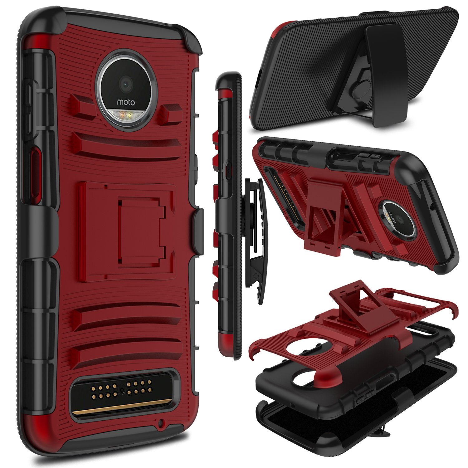 size 40 87db2 dfd8f Moto Z3 Play Case, Moto Z3 Case, Zenic Heavy Duty Shockproof Full-Body  Protective Hybrid Case Cover with Swivel Belt Clip and Kickstand for  Motorola ...