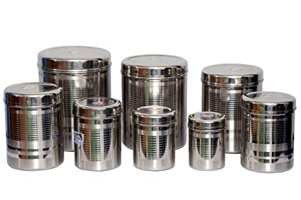 Tactware Stainless Steel Kitchen Storage Canister(Dabba) Set Of 8