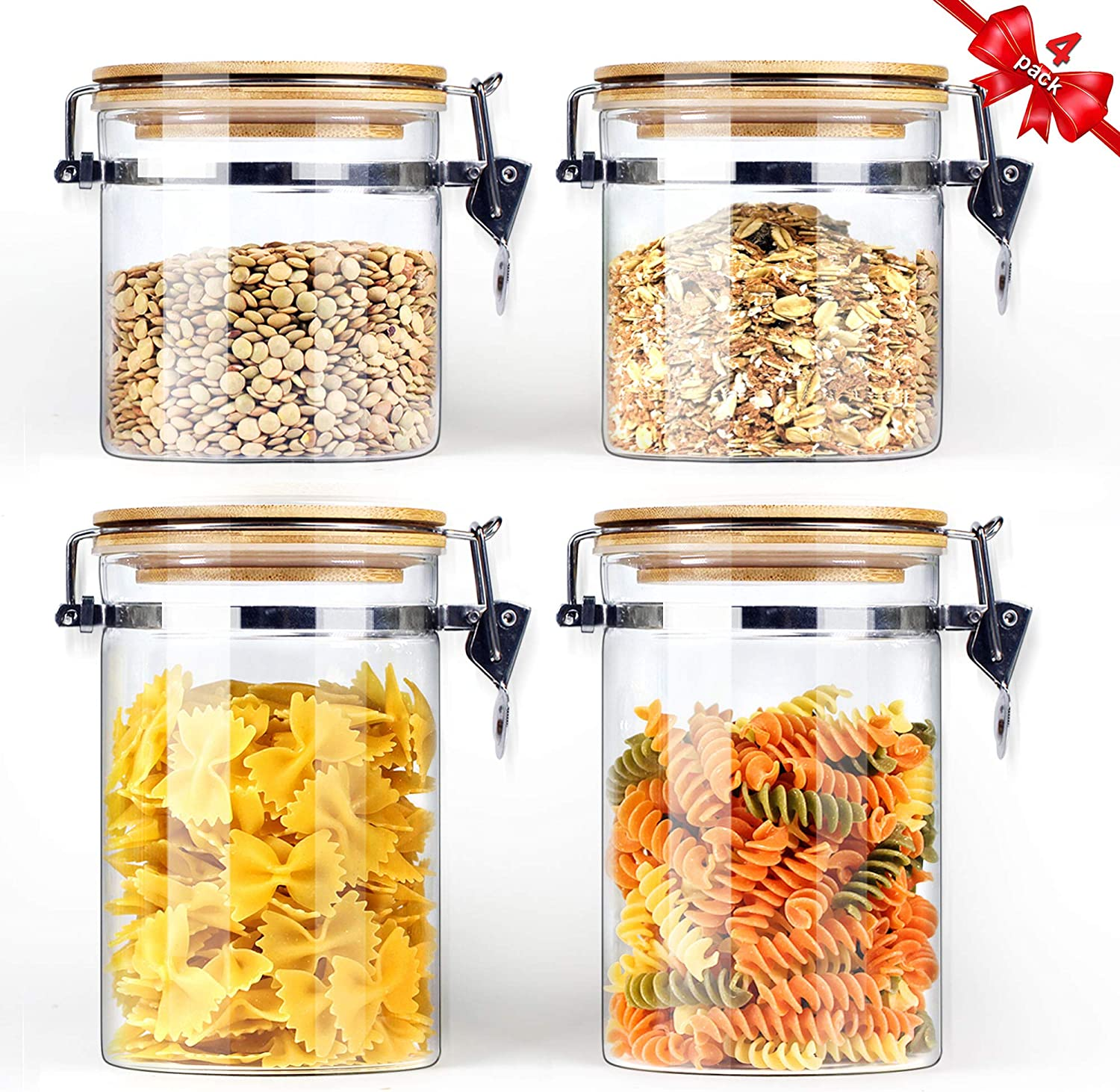 Borosilicate Glass Storage Jars with Airtight Locking Clamp Lids (2 Sets 18oz, 2 Sets 30oz), Airtight Glass Canisters with Locking Lids, Glass Storage Containers Bamboo Lid, Food Storage Container