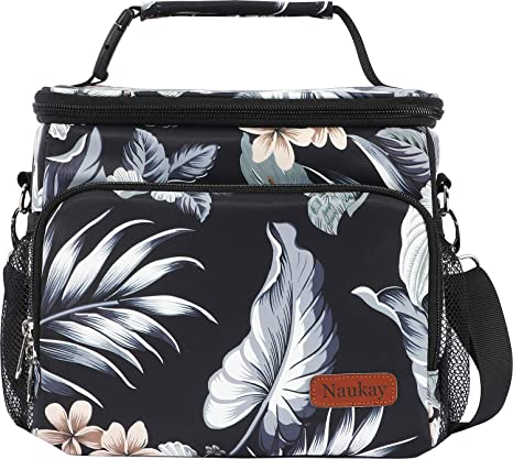 Black Flower Insulated Cooler Lunch Bag with Adjustable /& Removable Shoulder Strap Lunch Tote Bag for Women//Men//Picnic//Beach//Work//Office//School- Durable Water Resistant Leak Proof Lunch Bag