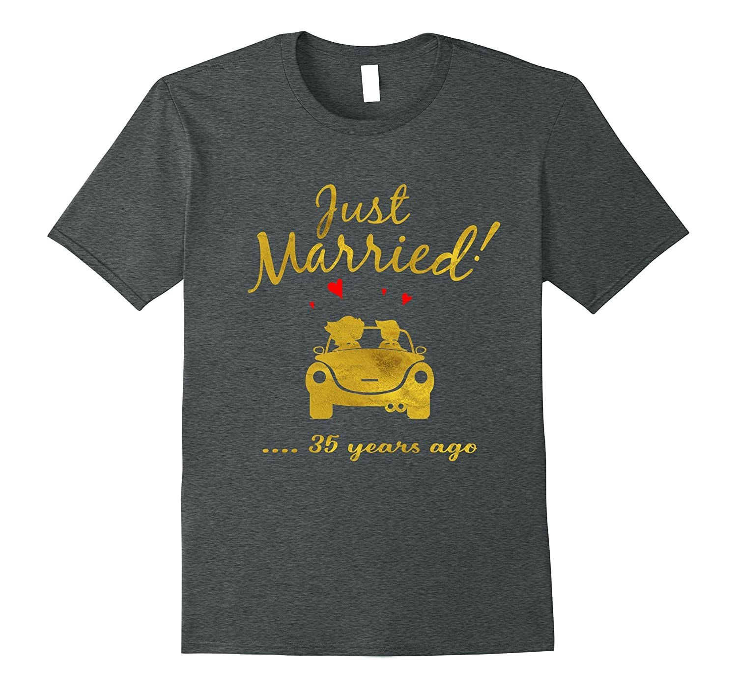 35th Wedding Anniversary T-Shirt Just Married 35 yrs Ago Tee-PL