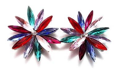 5c96c25aa2c1 Pendientes Cristales Colores Mujer Fiesta Boda Pendientes Elegantes con  Forma de Flor y Dorso Chapado Plata