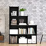 9-Cube Modular DIY Storage Cube Organizer by Tespo 4 tier Shelving Bookcase Cabinet Closet Black (9 - Regular Cube)