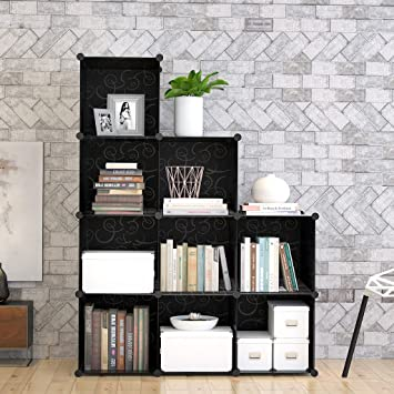 9 Cube Modular DIY Storage Cube Organizer By Tespo 4 Tier Shelving Bookcase  Cabinet Closet