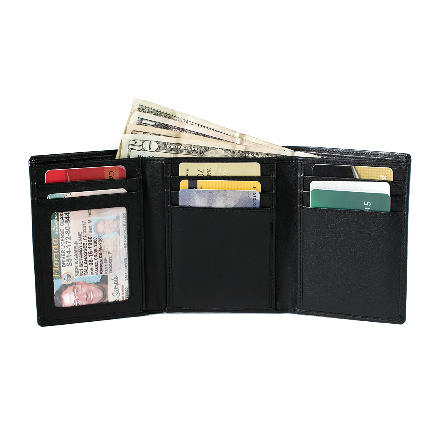 Trifold 8 Slot RFID Wallet with ID Slot - Black ID Stronghold 7003-ID