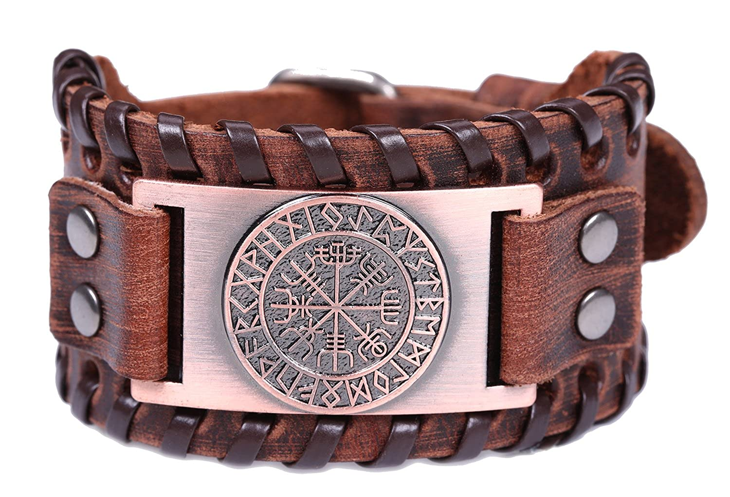 VASSAGO Vintage Nordic Viking Runes Wicca Vegvisir Compass Charm Brown Belt Buckle Bracelet Antique Brown) YiYou