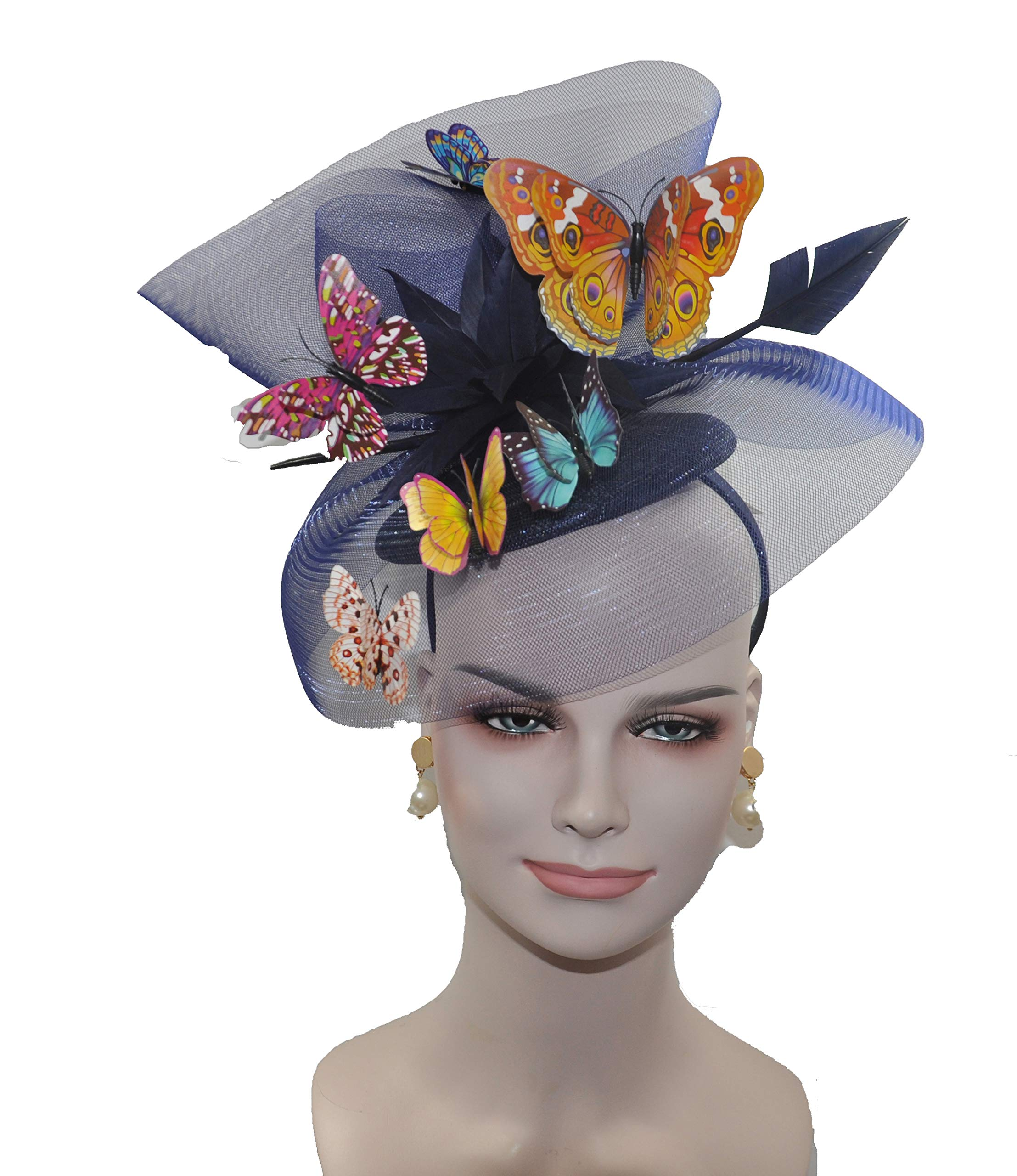Kentucky Derby Wedding Feather w Butterflies Floral Organza w Sinamay Headband Fascinator Hat Cocktail Navy Blue