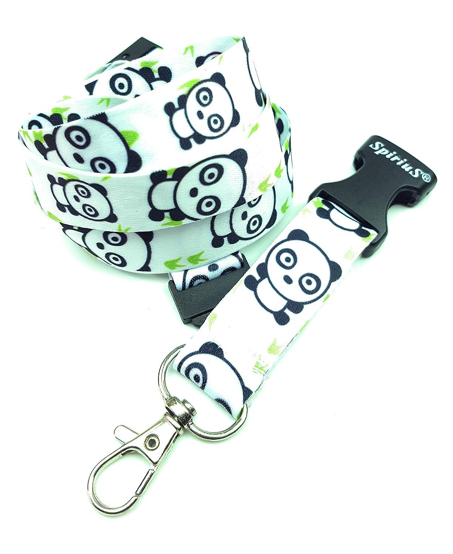 cordino da collo per porta badge//portachiavi per ufficio scuola White with Pandas Spirius