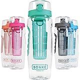 Bonke Trinkflasche für Fruchtschorlen - Große 1 Liter BPA-freie Sportflasche – Wasserflasche mit Gummigriff und extra sicherem Verschlusssystem – 1 Jahr Garantie