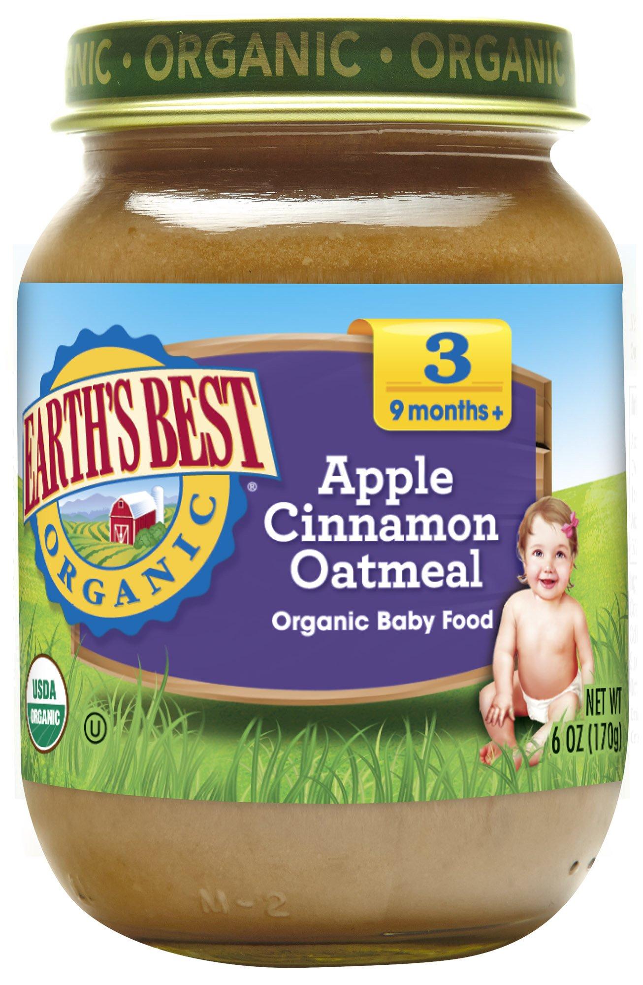 Earth's Best Organic Stage 3, Apple, Cinnamon & Oatmeal, 6 Ounce Jar (Pack of 12)