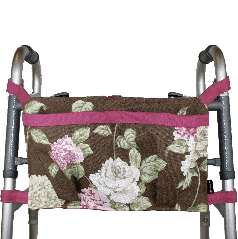 Walker Bag, Brown Floral Print with Pink Trim | Senior Walker Accessory | Carrier Pouch for Senior Walker