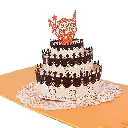 Amazon 3d pop up happy birthday card birthday cake french 3d pop up happy birthday card birthday cake french style greeting cards stopboris Choice Image