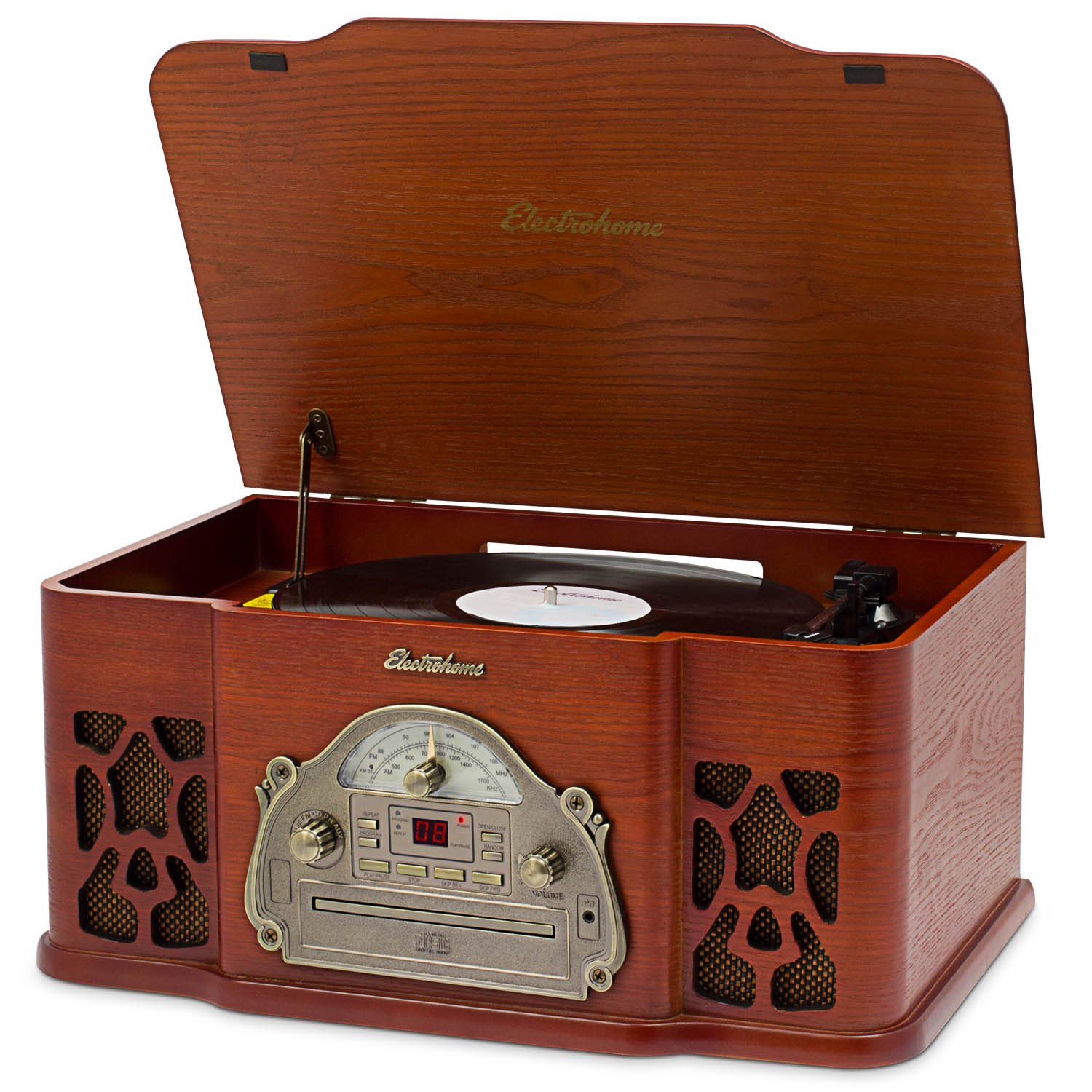 Electrohome Winston Vinyl Record Player 3-in-1 Classic Turntable Natural Wood Stereo System, AM/FM Radio, CD, and AUX Input for Smartphones, Tablets, and MP3 players (EANOS501) by Electrohome
