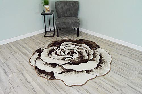 Flowers 3D Effect Hand Carved Thick Artistic Floral Flower Rose Botanical Shape Area Rug Design 304 Brown Beige 2 7 x2 7 Round