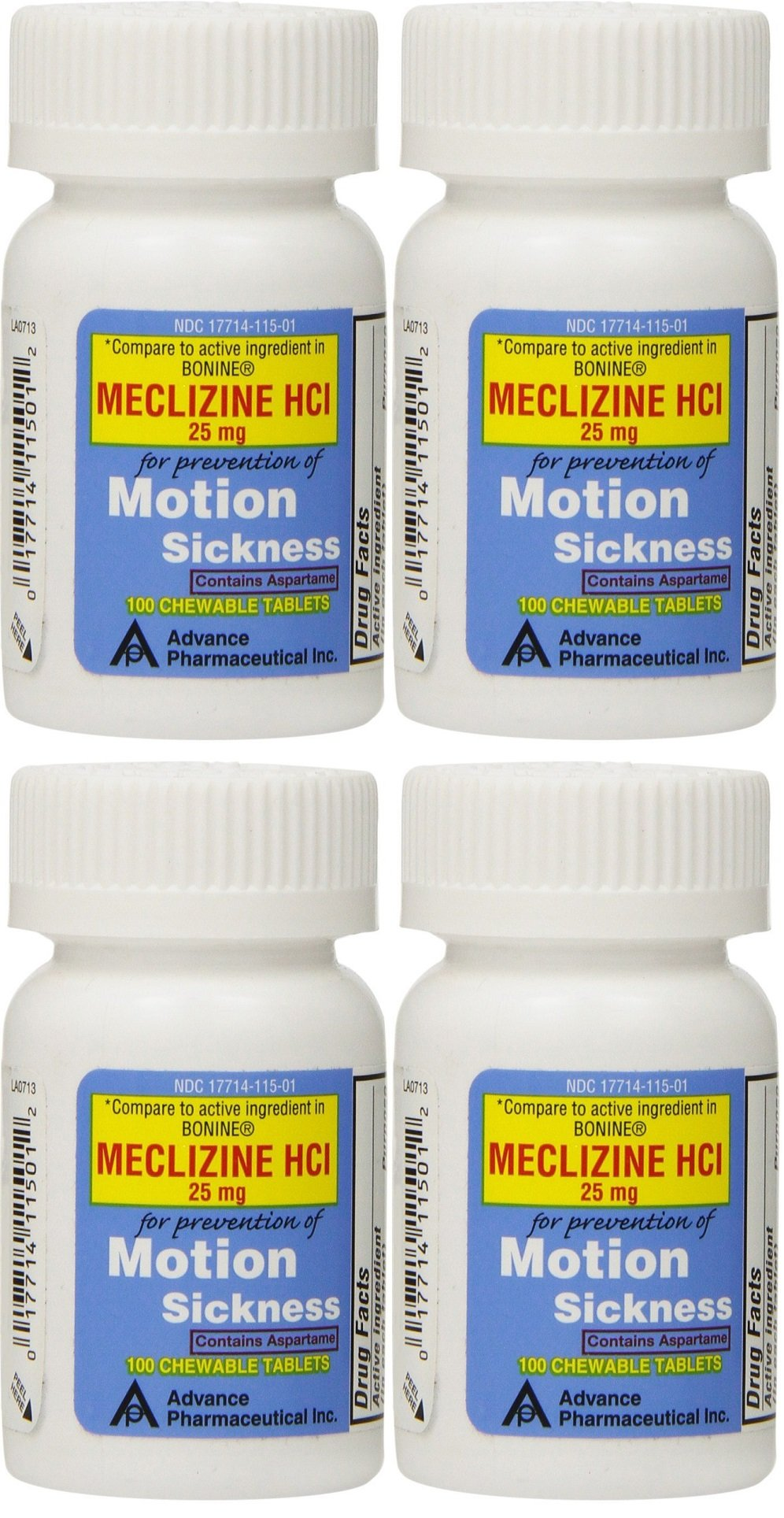 Meclizine 25 mg Generic For Bonine Chewable Tablets for Prevention of Motion Sickness and Anti-Nausea 100 Tablets per Bottle Pack of 4 Total 400 Tablets