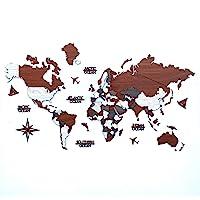 3D Wooden World Map, Wood Wall Map, Housewarming Gift, World Map, Wall Art Decor, Wooden Travel Map, Birthday Gift (L…