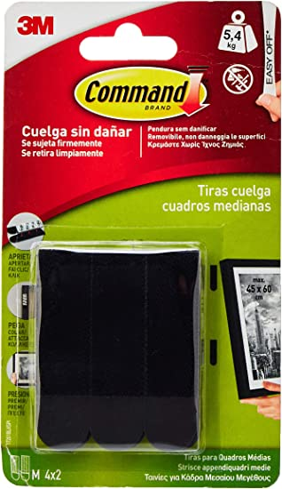 Command 17201BLK Pack de 4 tiras para cuadros medianas color negro, Set de 4 Piezas: Amazon.es: Bricolaje y herramientas