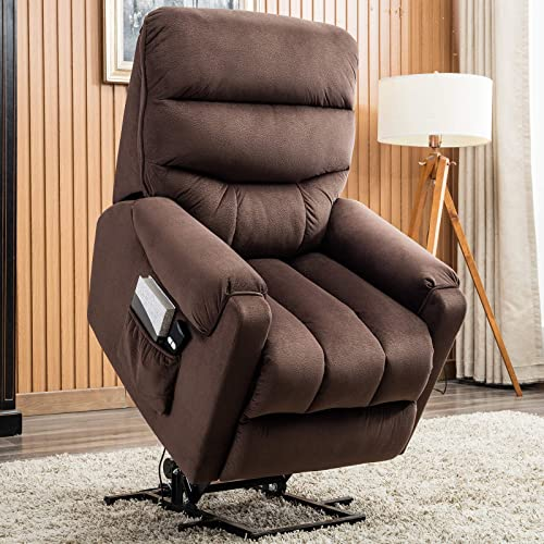 Power Lift Recliner Chair, Electric Recliner for Elderly, Fabric Sofa, Motorized Living Room Chair with Side Pocket, Dark Brown