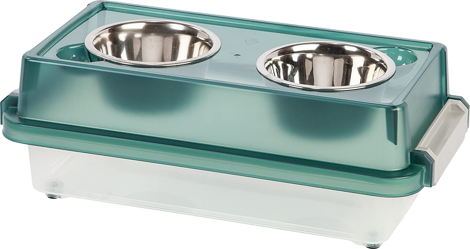 IRIS Airtight Elevated Storage Feeder with 2 Stainless Steel Bowls, 1 Pint, Green