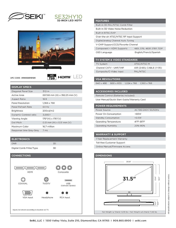 Seiki Se32hy10 32 Inch 720p 60hz Led Tv 2014 Model Diagram Movement Color Remote Electronics