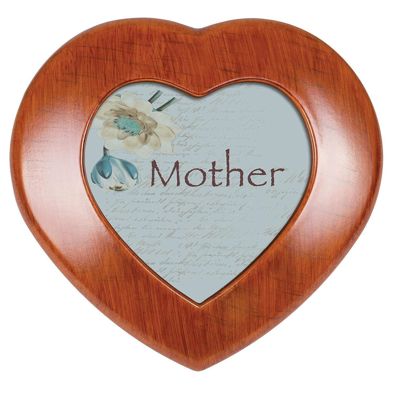 Cottage Garden Mom Woodgrain Mini Heart Music Box//Jewelry Box Plays Wind Beneath My Wings