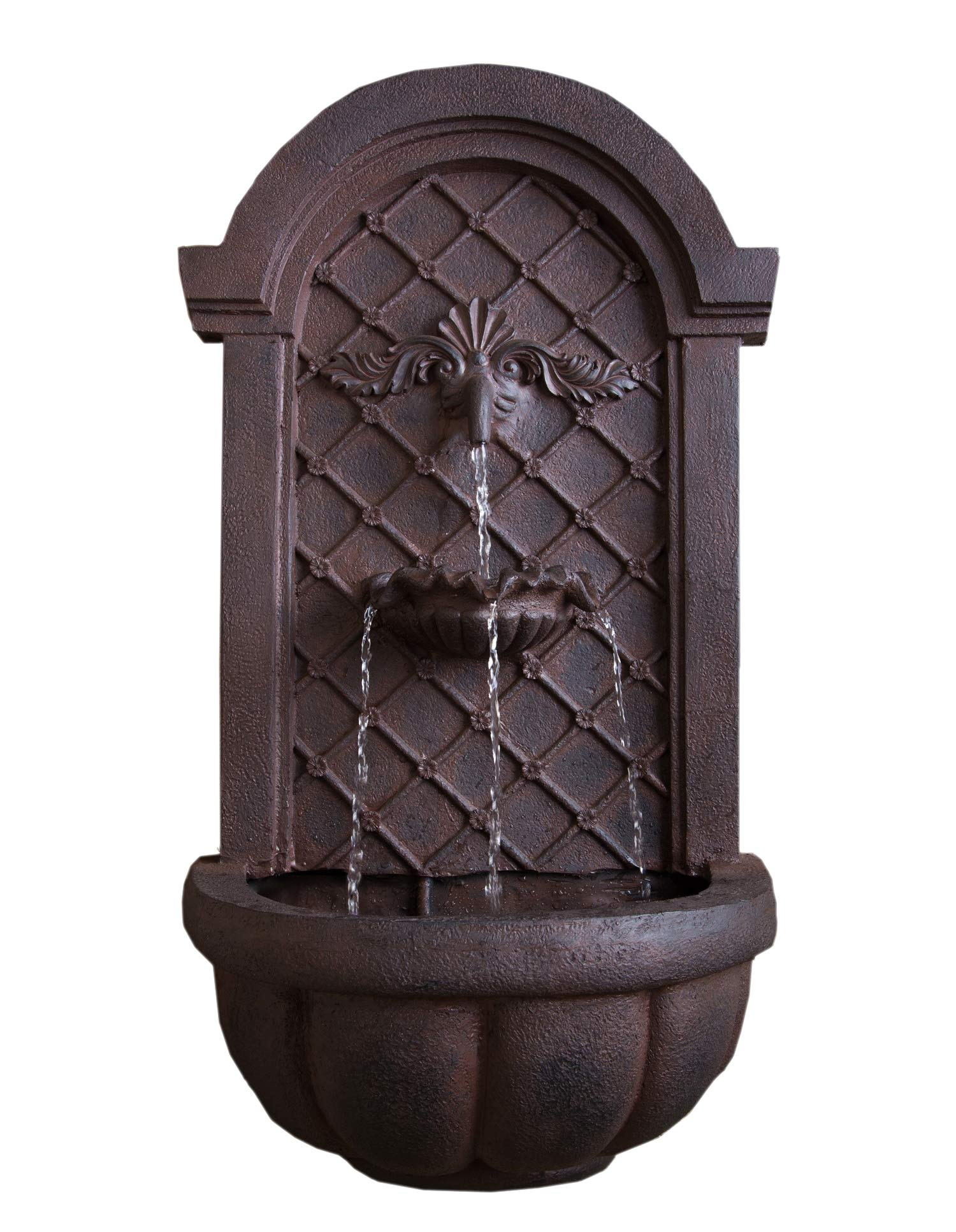 The Manchester - Outdoor Wall Fountain - Weathered Bronze - Water Feature for Garden, Patio and Landscape Enhancement
