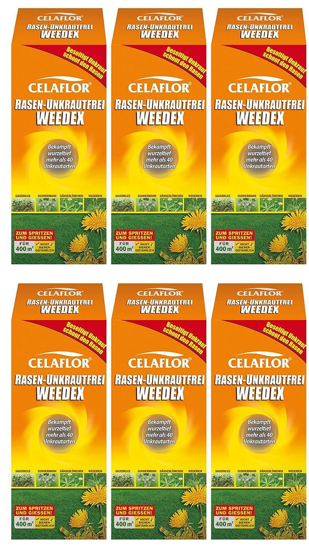6 x 400 ml Celaflor Rasen-Unkrautfrei Weedex Unkrautvernichter