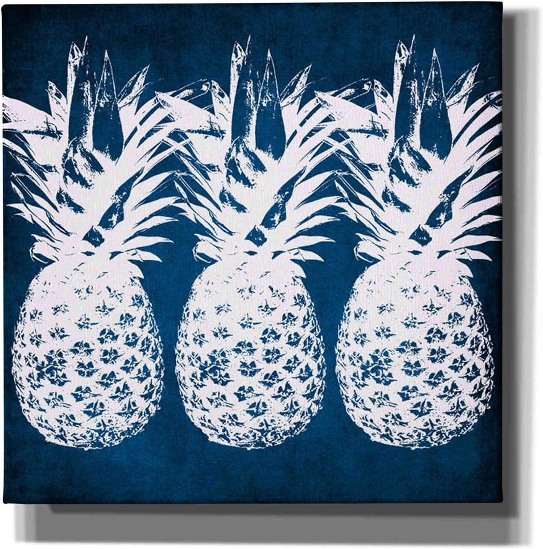 Amazon Com Epic Graffiti Indigo Pineapple By Linda Woods Canvas Wall Art 12 X 12 Blue Posters Prints