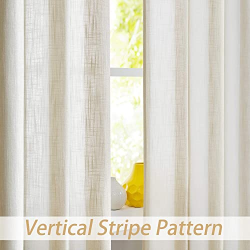 Central Park Miles Stripe Linen Look Curtains Grommet Light Filtering Curtains for Living and Bedroom Casual Modern Stripe, Set of 2, Beige, 44 x 108 Each