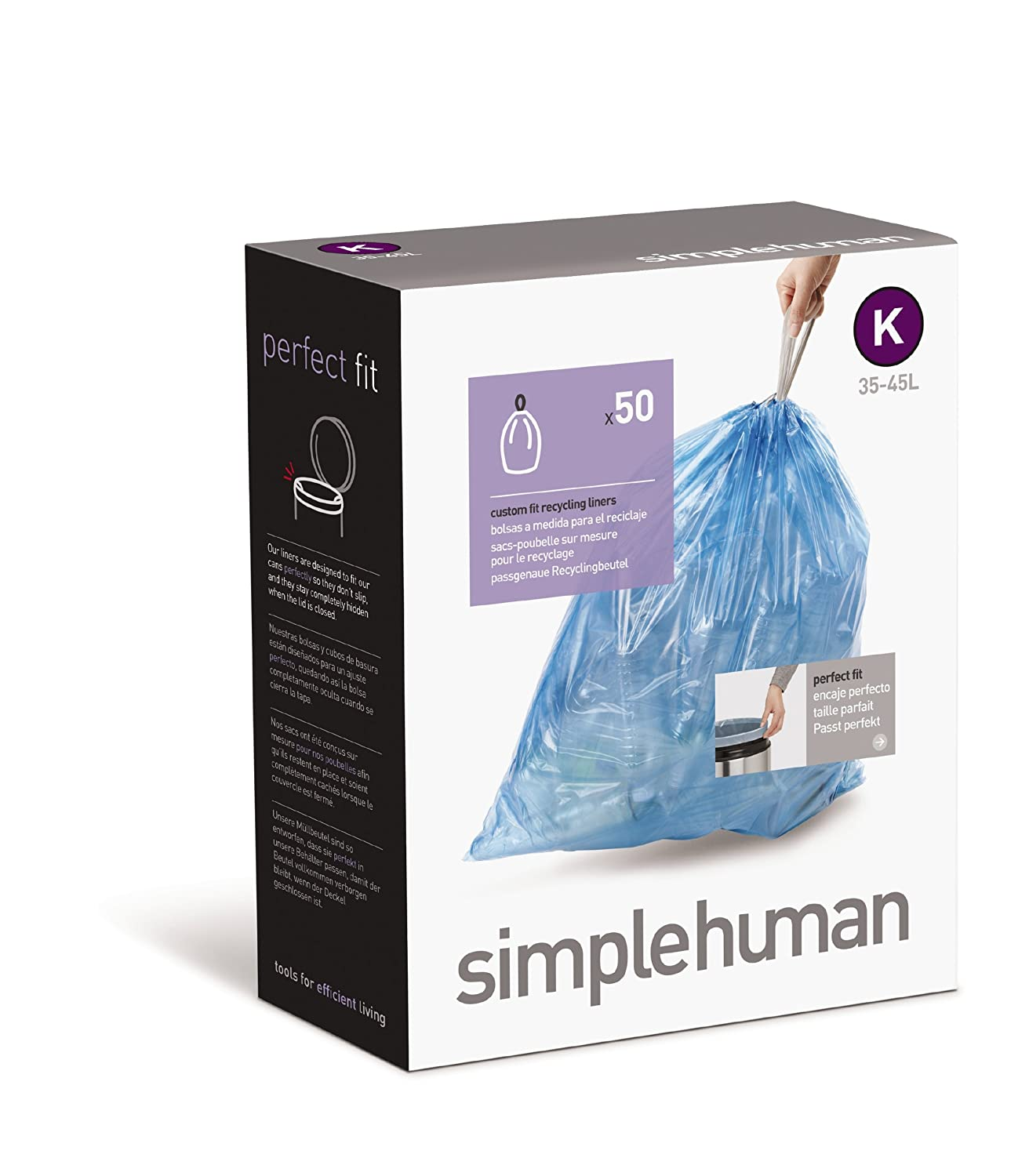 simplehuman Custom Fit Trash Can Recycling Liner K, 35-45 L / 9-12 Gal, 50-Count Box