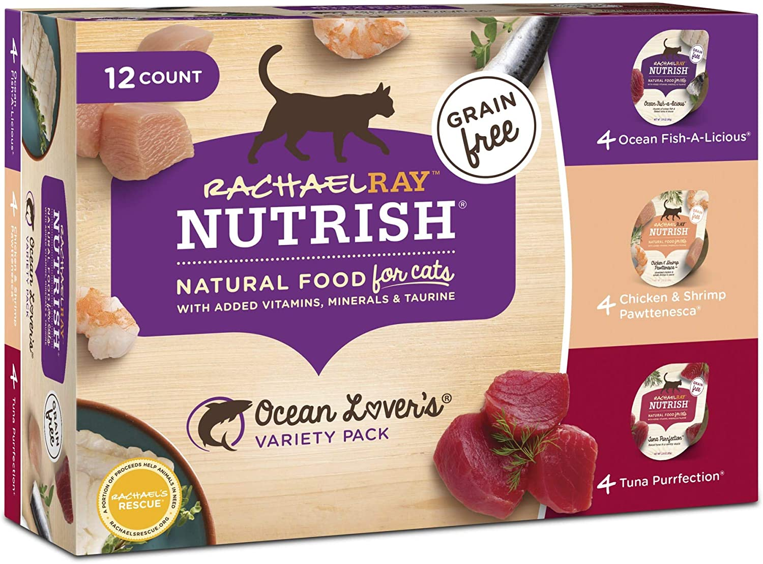 Rachael Ray Nutrish Natural Grain Free Ocean Lovers Variety Pack Wet Cat Food, 2.8 oz., Pack of 12
