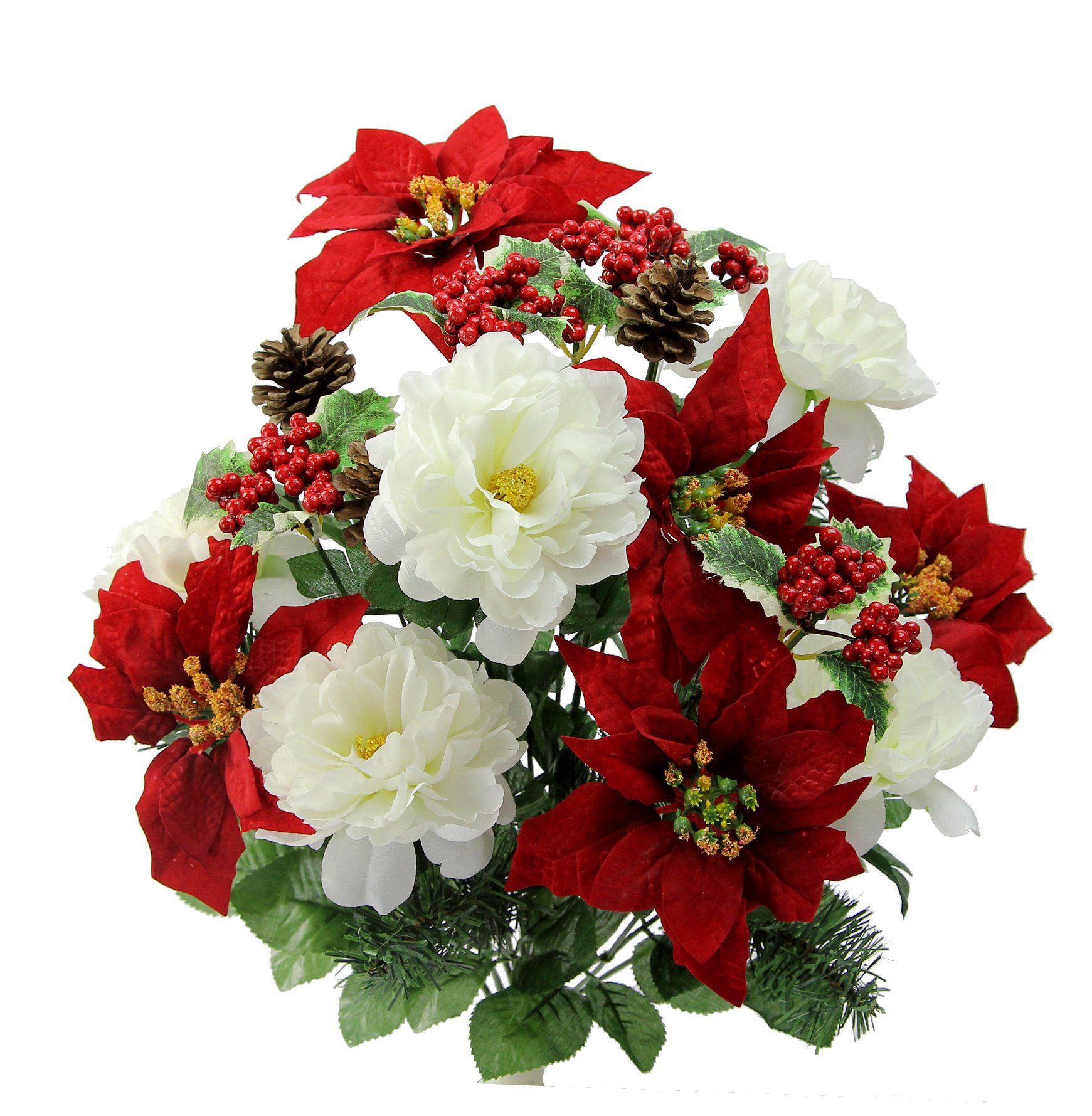 silk flower arrangements admired by nature gpb6816-rd/cm artificial flower bush, peony poinsettias-rd/cm