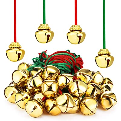 Jingle Gold Bell Necklaces Large Christmas Bell Necklaces for Craft Holiday Party Supplies (Gold Bell Red Rope, Gold Bell Green Rope, 48 Pieces): Toys & Games