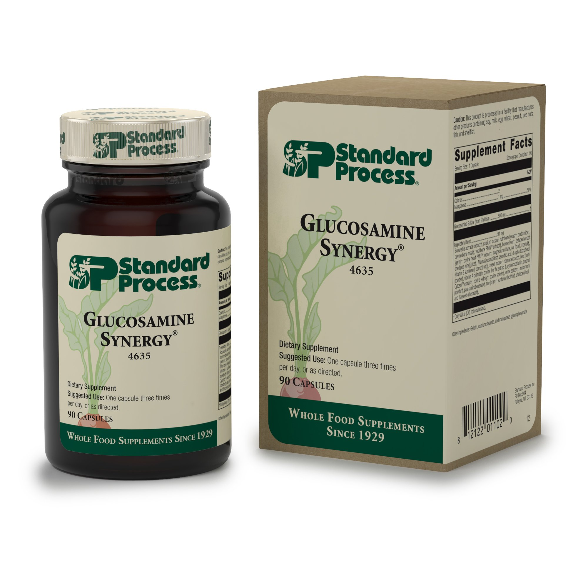 Standard Process - Glucosamine Synergy - Glucosamine, Boswellia Serrata, and Manganese Supplement, Supports Joint Health and Connective Tissue Function and Repair - 90 Capsules