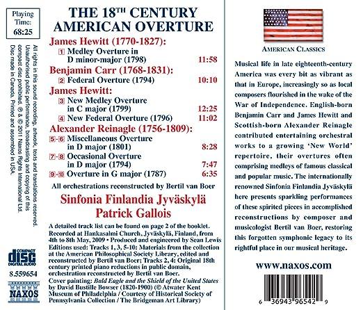 Kuvahaun tulos haulle The 18th Century American Overture: Hewitt - Carr - Reinagle