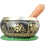 "4"" Meditation 8 Lucky Symbols Singing Bowl with Wooden Mallet and Cushion"