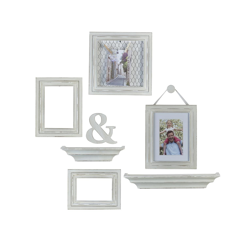 Amazon.com: MELANNCO 8-Piece Distressed Wall Picture Frame Set ...