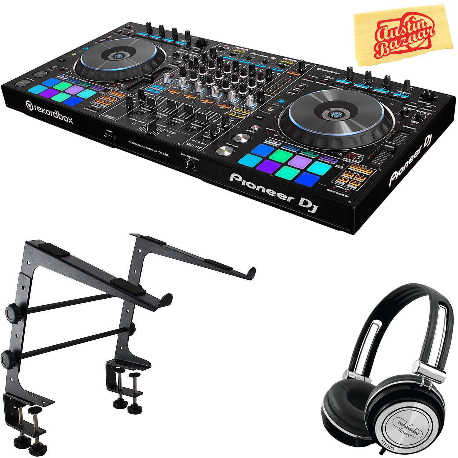 Pioneer DDJ-RB Portable 2-Channel Controller for Rekordbox DJ Bundle with Stand, Headphones, and Austin Bazaar Polishing Cloth DDJ-RB-COMBO-DLX