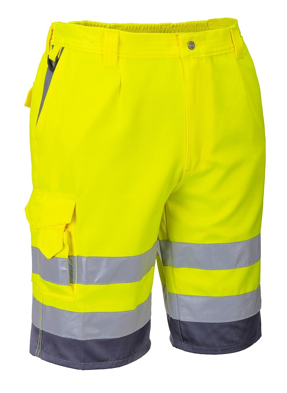 Hi Viz de alta visibilidad naranja polialgodó n pantalones cortos pequeñ as –  2 x l naranja Orange/Navy 76, 20-81, 28 cm Portwest oxE043-ORANGE/MARINE-S