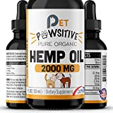 Pet Pawsitive - Hemp Oil Dogs Cats - 2000mg - Separation Anxiety, Joint Pain, Stress Relief, Arthritis, Seizures, Chronic Pains, Anti-Inflammatory - Omega 3, 6 & 9 – 100% Organic – Calming Drops