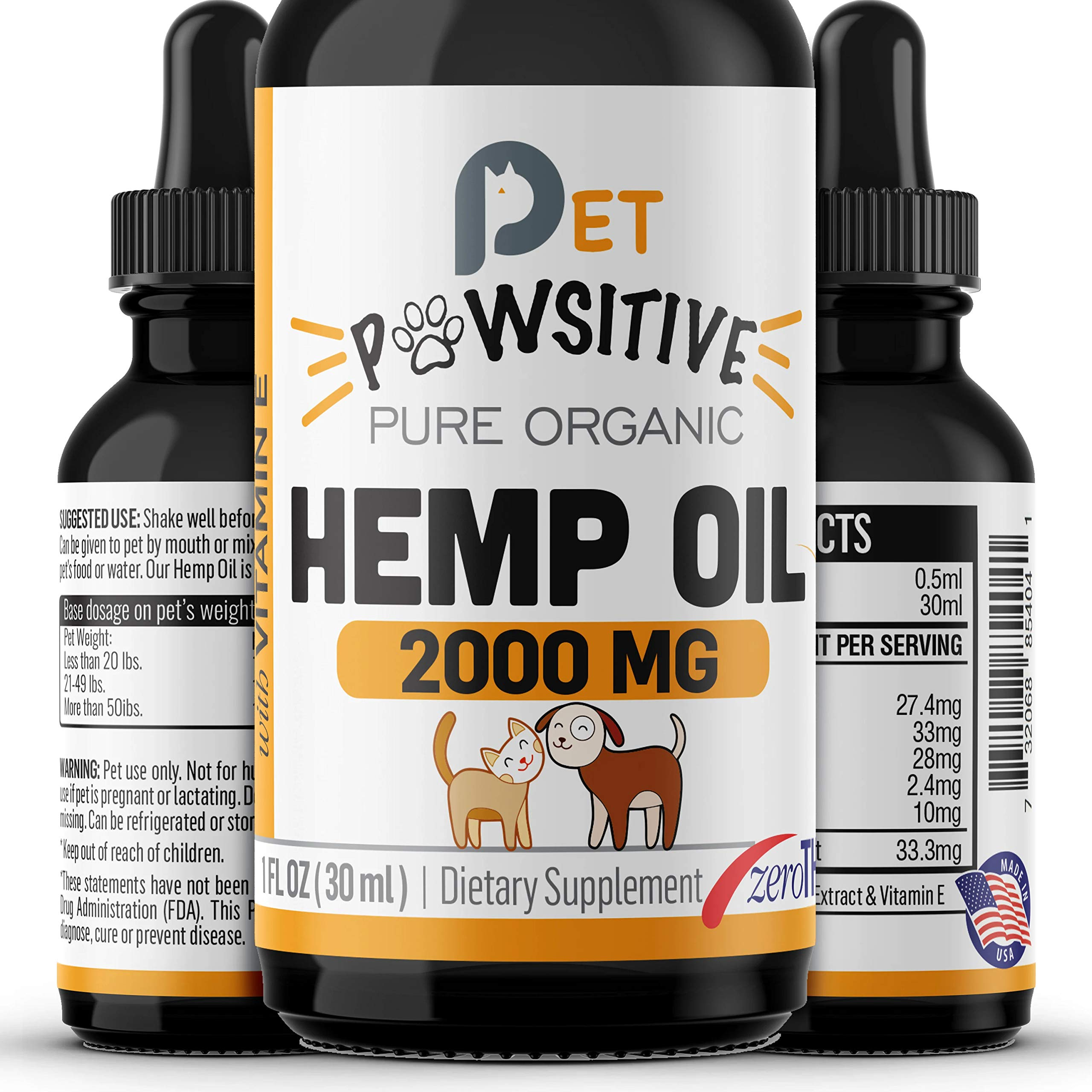 Pet Pawsitive - Hemp Oil Dogs Cats - 2000mg - Separation Anxiety, Joint Pain, Stress Relief, Arthritis, Seizures, Chronic Pains, Anti-Inflammatory - Omega 3, 6 & 9 - 100% Organic - Calming Drops by Pet Pawsitive