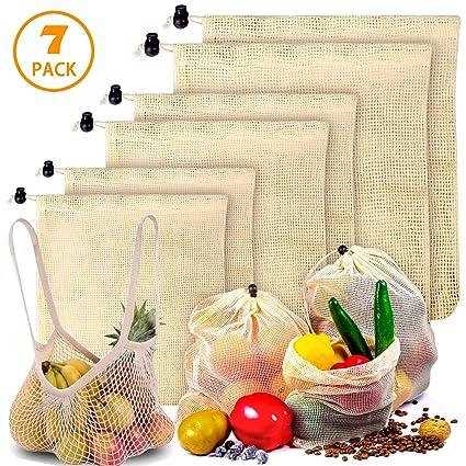 Bolsas Reutilizables Compra Ecológicas Bolsa de Malla para Almacenamiento Fruta Verduras Juguetes Lavable y Transpirable 4 Diversos Tamaños 7 Unidades
