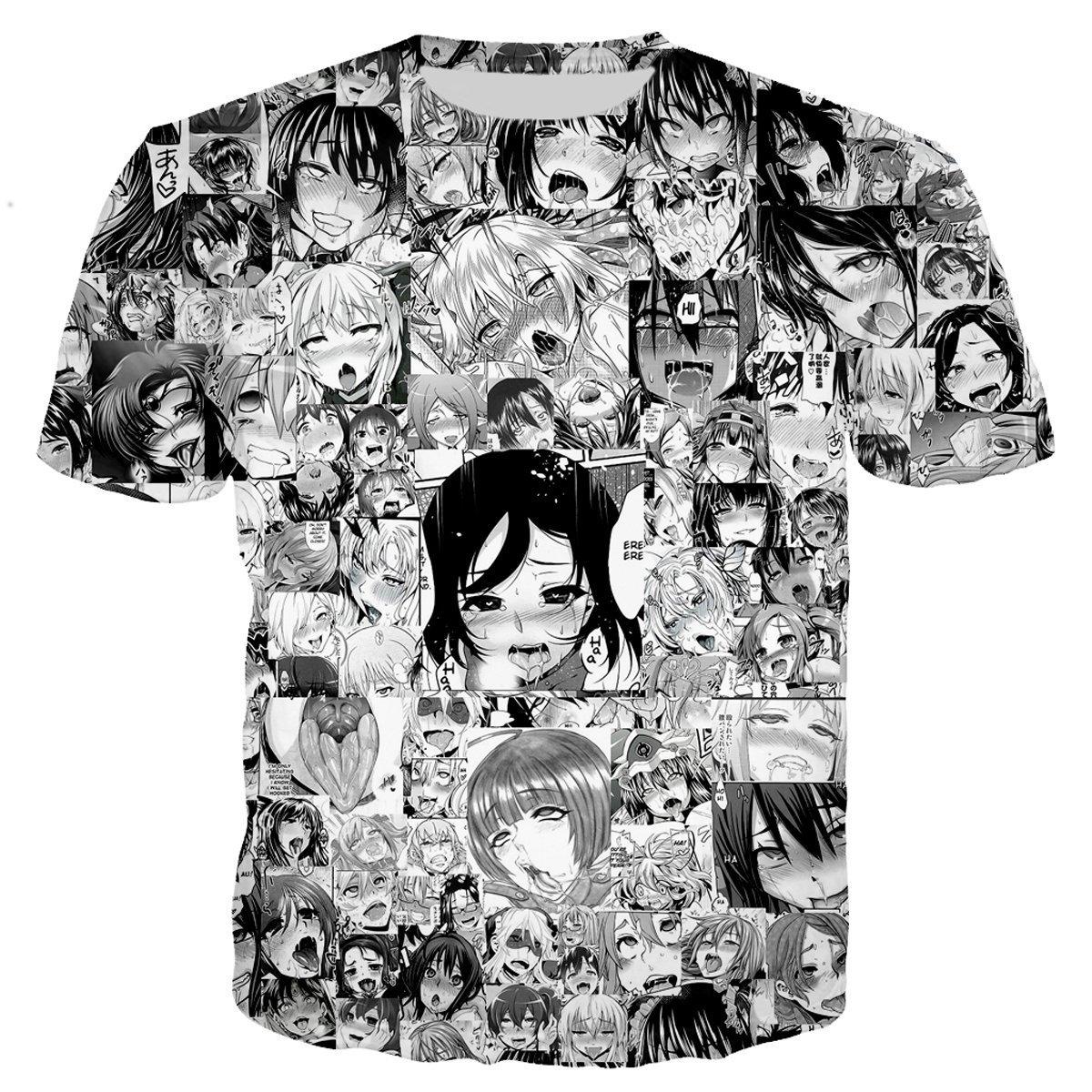 YX GIRL Unisex 3D Printed t Shirts Ahegao t Shirt Summer t-Shirt (XXL/3XL, 5-at-2)