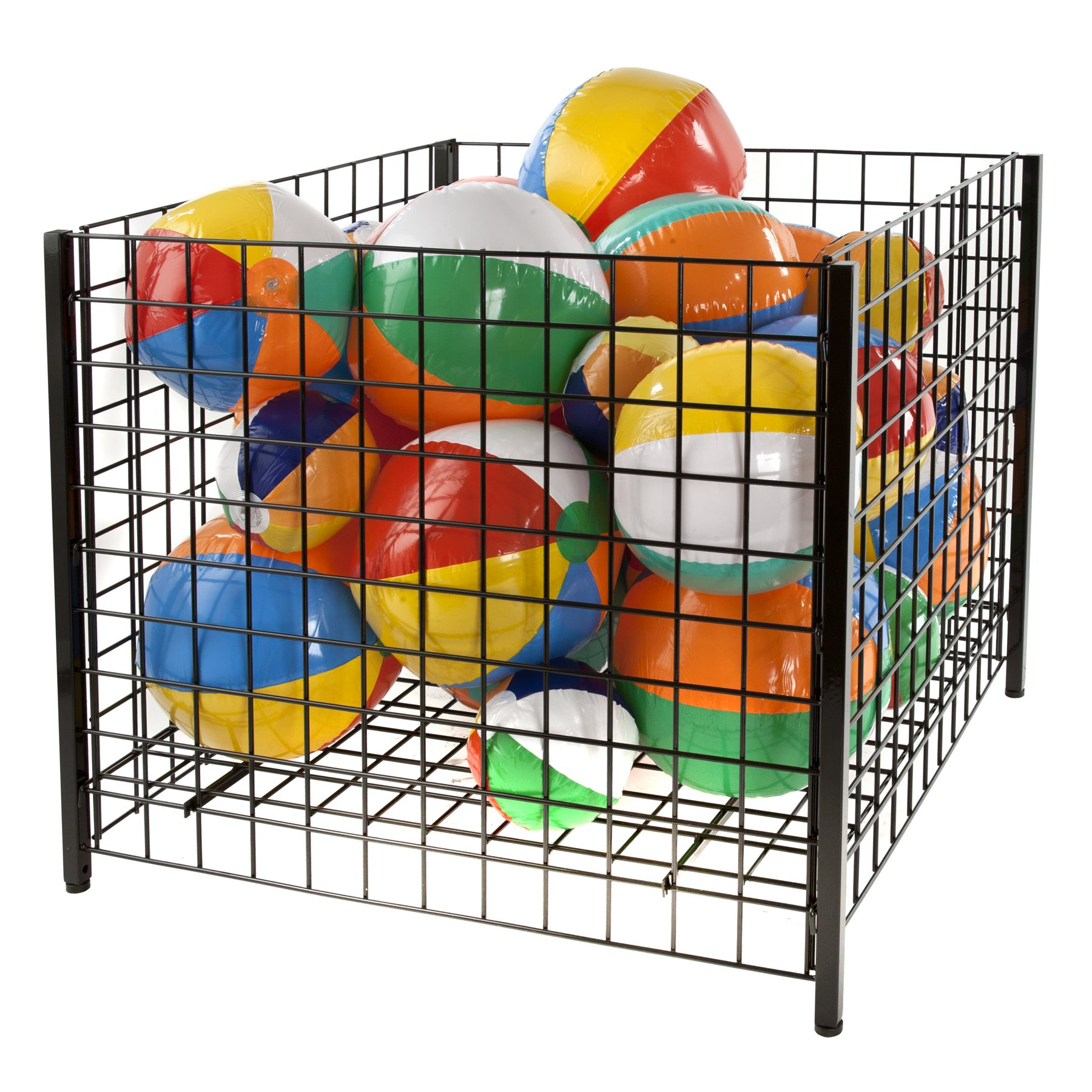Econoco Grid Dump Bin with Levelers, Square, 36'', Black