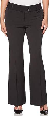 Rafaella Womens RSBB0012 Women's Curvy Fit Short Length Gaberdine Trouser Dress Pants - Gray
