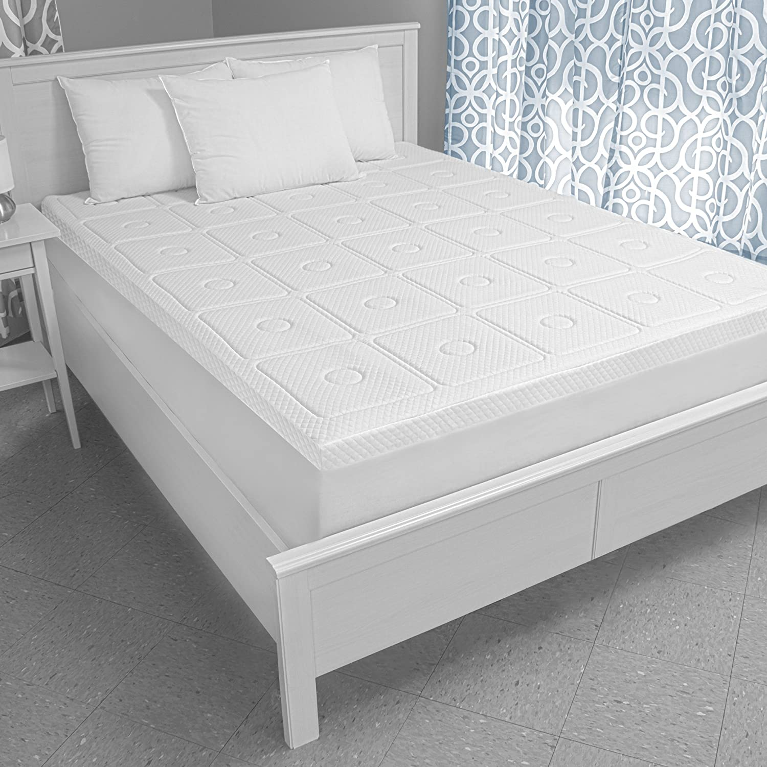 Amazon.com: SensorPEDIC Luxury Extraordinaire 3-Inch Quilted Memory Foam Mattress  Topper, Twin Size, White: Home & Kitchen